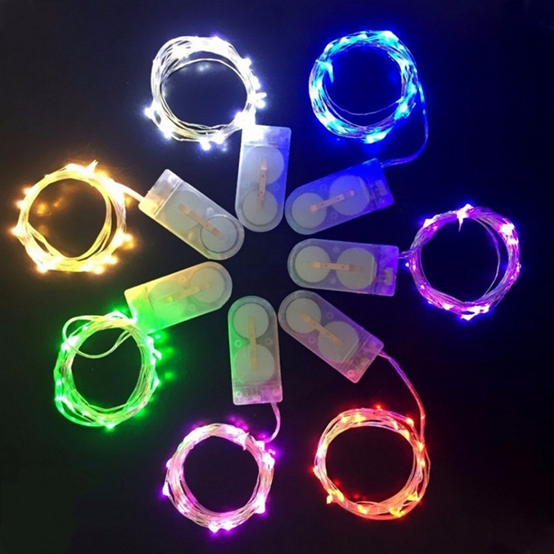 10 20 Led Fairy String Light Battery Powered 1M 2M 4M Silver Copper Wire Mini Lamp For Christmas Holiday Wedding Party 8 Colors