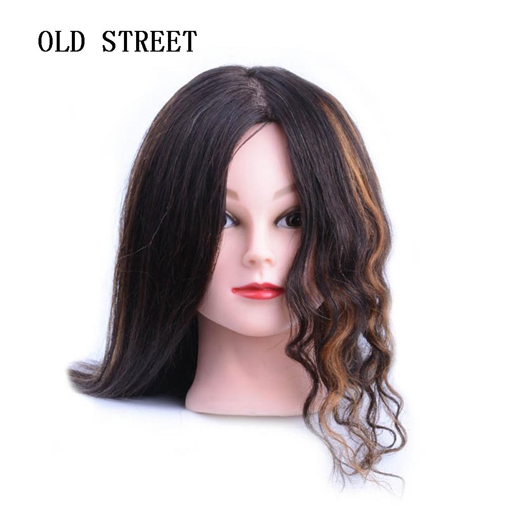 100% Human Hair Training Head Short Black Hair For Salon Hairdressing Mannequin Dolls Professional Perm Bleaching Dyeing Hair