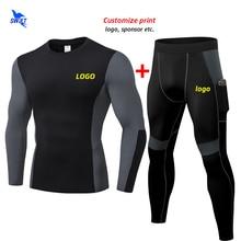 Leggings Tracksuit Sportswear Shirt Running-Set Gym Custom Fitness Winter 2pcs Men Stretch