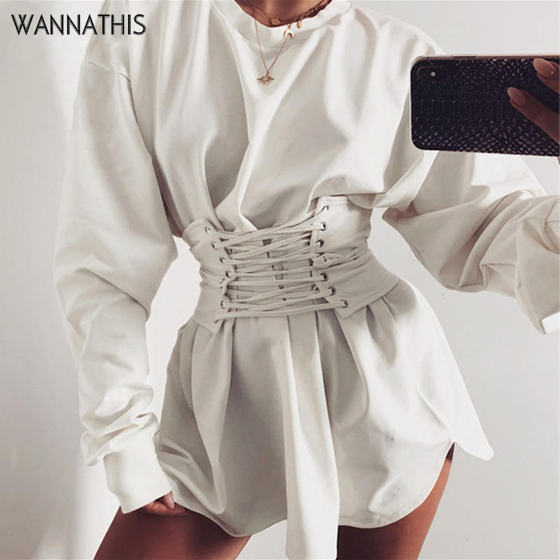 WannaThis Casual A-lineDresses With Belt Hight Waist Bandage Laceup Solid Slim Long Sleeve Autumn Winter O-Neck Women Mini Dress