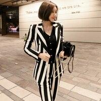 Breasted Double Breasted Blazer Pant Suit Set Korean Women Buisness Suit Stripe Pants Suits Women Two Piece Outfits Woman Suit