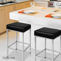 2pcs/Pair Bar Stool PU Leather Seat Green Modern Living Room Chairs Backless Bar Stools High Stool Dining Chair Leisure Chair A2