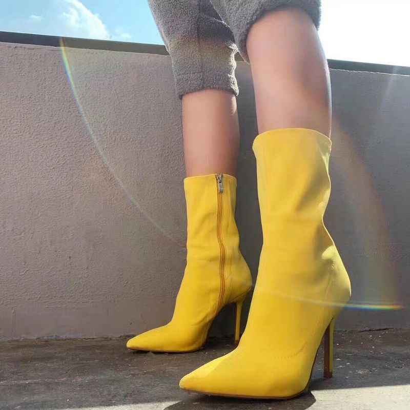 Kadınlar sarı ayak bileği çorap çizme 2019 moda bahar sonbahar sıcak çizmeler tıknaz yüksek topuklu sivri burun kadın ayakkabı