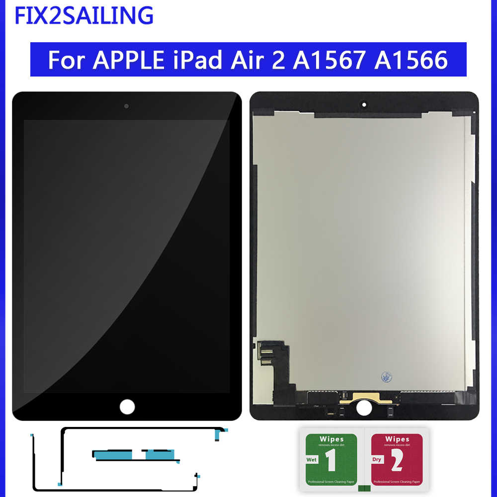 "9.7 ""LCD Voor Apple iPad 6 Air 2 A1567 A1566 9.7'' 100% AAA + Grade Lcd Touch screen Digitizer Vergadering Vervanging"