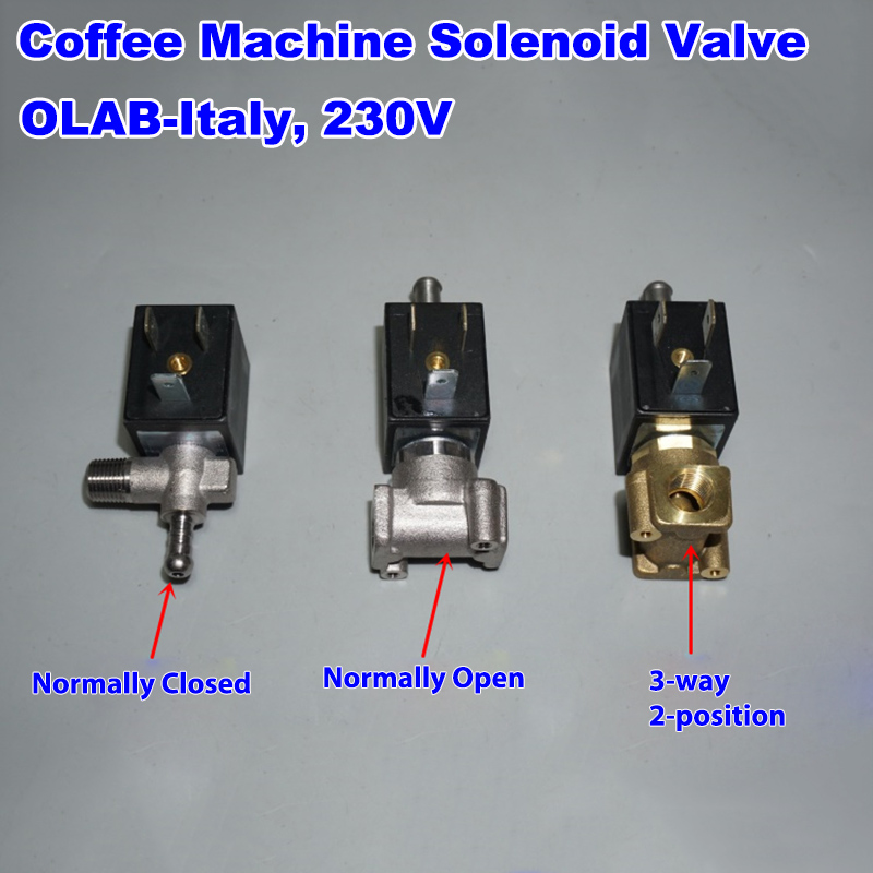 OLAB Italy  Coffee Maker Machine Solenoid Valve  SERIE 6000-9000 AC 230V G1/8' Brass  Steam Hot Water Normally Closed Open
