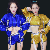 Jazz Dance Costumes Fashion Sequined Street Dance Set Hip Hop Pole Dancing Clothes NightclubSinger Dj Ds Stage Outfit DT1215