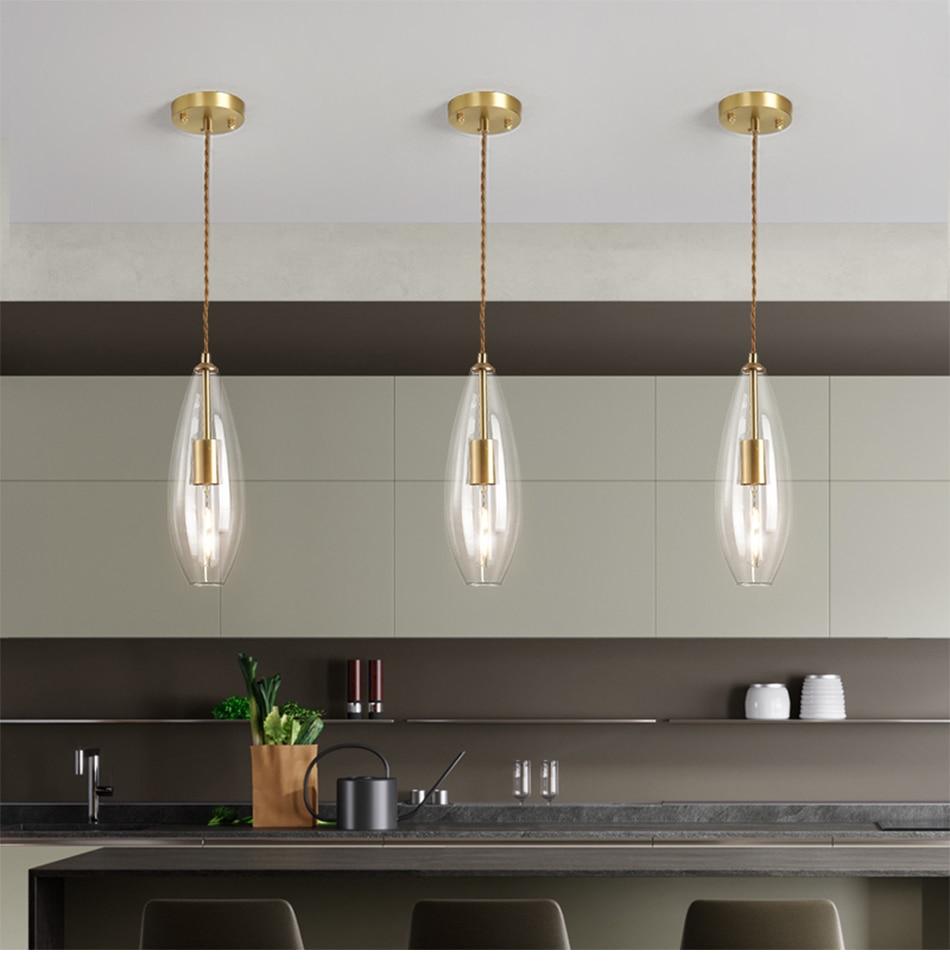 Youlaike modern single light dining room bedroom living room pendant light  clear glass pendant lamp kitchen island bar hanglamp