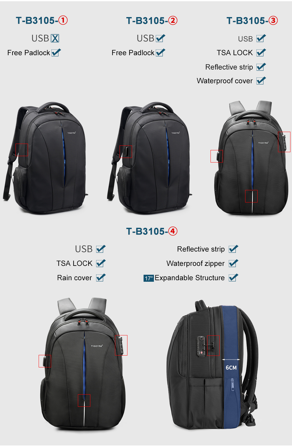 Waterproof 15.6inch Laptop Travel Backpack 15