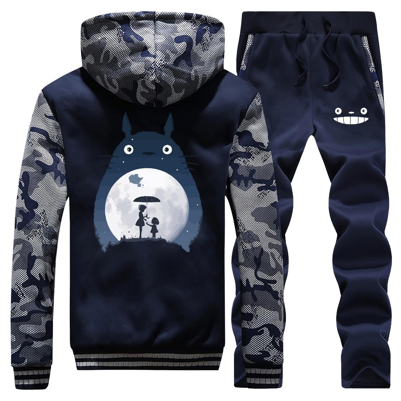 Winter 2019 New Japan Cartoon Cute Totoro Sportswear Men Hooded Thick Suit Anime Print Sweatshirt Camouflage+Pants 2 Piece Set