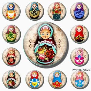 Muñeca rusa imán de nevera 12 Uds. Conjunto de imanes de nevera de dibujos animados bonitos Babushka anidación Matryoshka manga adhesivos de muñecas Decoración