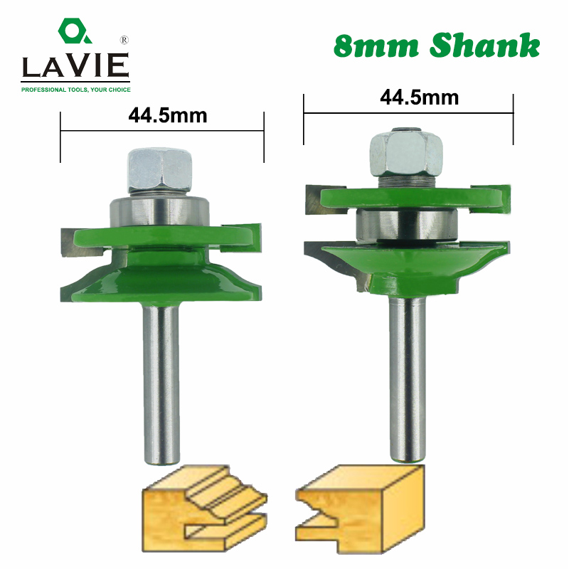 LAVIE 2pcs 8mm Stile & Rail Set-Ogee Bit Set Tenon Knife Woodworking Cutter Tungsten Carbide Milling Cutters For Wood MC02027