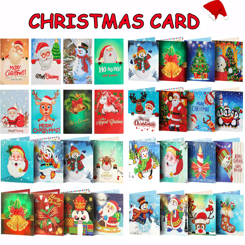 5D DIY бриллиантовый рисунок Рождество открытки Новое поступление Алмазная вышивка мозаика художественные наборы Санта-Клаус поздравительн...