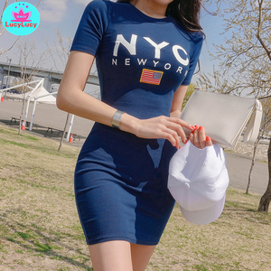 Image 4 - 2019 جديد الصيف المرأة شخصية الموضة س الرقبة قصيرة إلكتروني حقيبة مطبوعة فستان الورك مكتب سيدة القطن