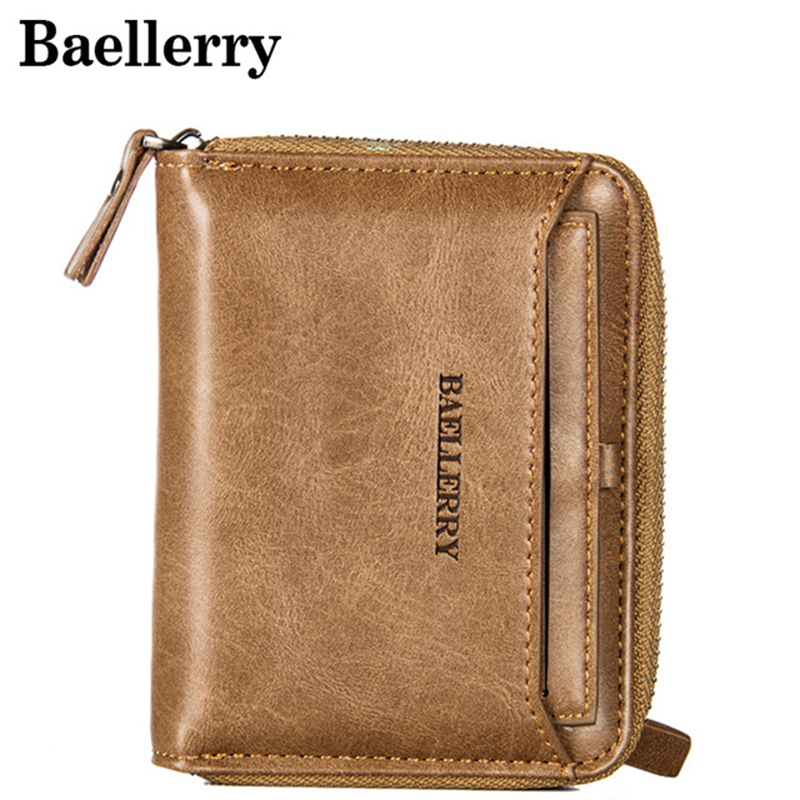 Vintage Men Wallet Small Purse Male Leather Wallets Coin Pocket Men Zipper Purses Card Holder Money Bag MWS170-3