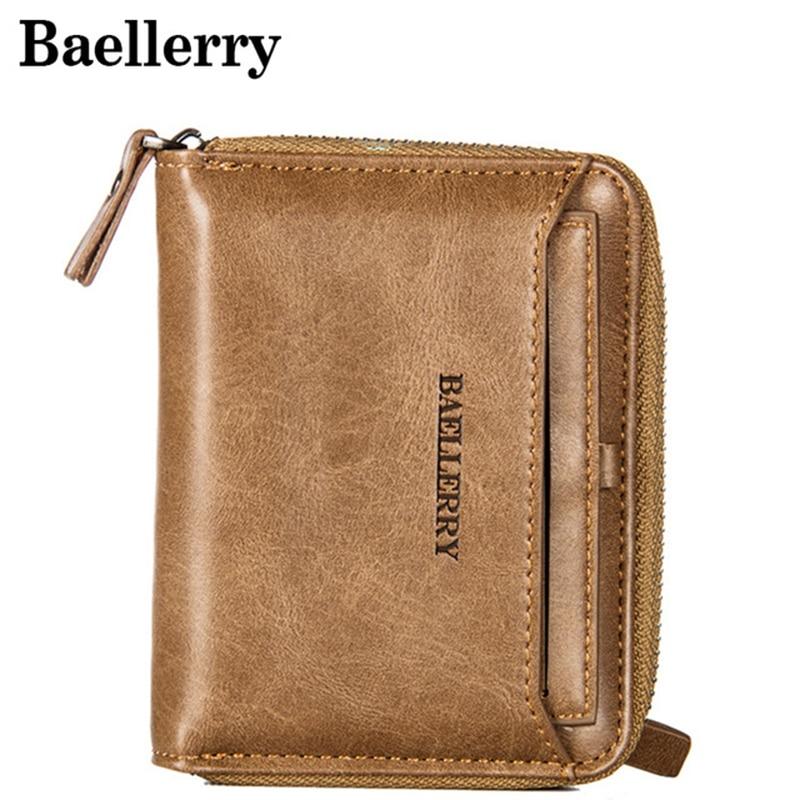 Vintage Men Wallet Small Purse Male Leather Wallets Coin Pocket Men Zipper Purses Card Holder Money Bag MWS170-3