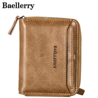 Vintage Men Wallet Small Purse Male Leather Wallets Coin Pocket Men Zipper Purses Card Holder Money Bag MWS170 3|Wallets| |  -