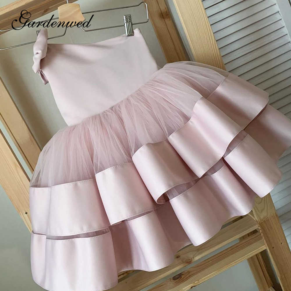 Gardenwed Puffy Rosa Blume Mädchen Kleider Tiered Satin Kinder Promi Kleid Kid Bow-schulter Prom Kleid, vestido de fiesta de boda