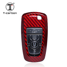 цена на Car Styling Pure Carbon Fiber Red Glass Fiber Car Key Case Cover Shell bag For Ford New Mondeo Edge Mustang 2018 Car Accessories