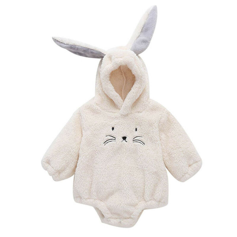 2019 Newborn Baby Girl Boy Rabit Ear Long Sleeve Fuzzy Hooded Bodysuit Jumpsuit Infant Toddler Winter Outerwear Outfits 0-24M