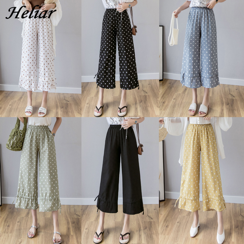 Heliar Official Lady Beam Foot Polka Dots Trousers Women Loose Pants Female 2020 Summer Student Elastic Waist Trousers For Women