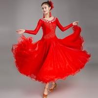 New Modern Red Ballroom Dance Dress Big Swing Match Dresses Waltz Performance Clothing Standard Women'S Dance Costume DWY2188
