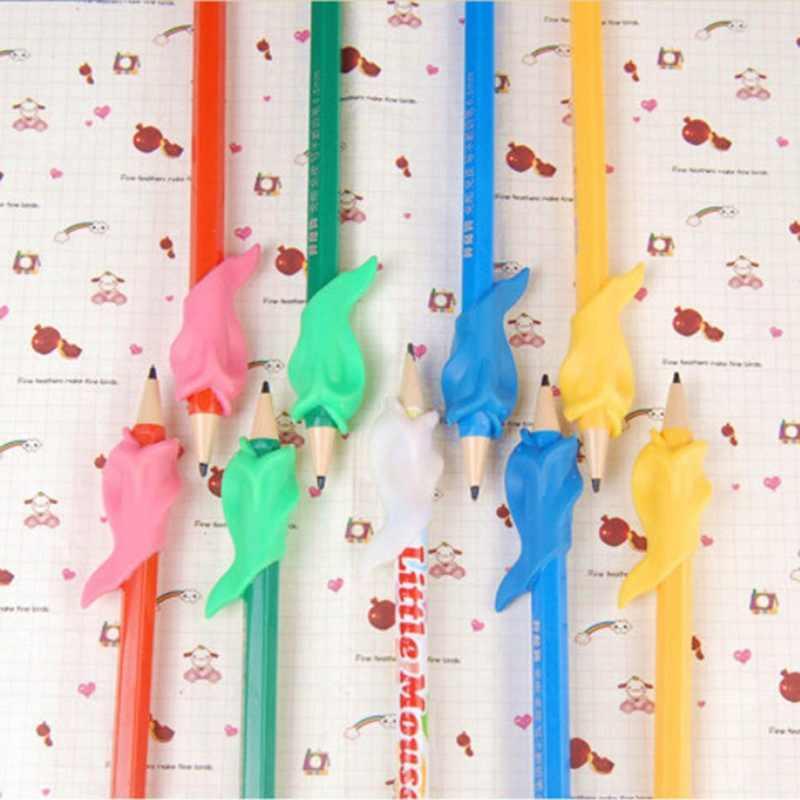 6 unids/pack pescado de silicona con forma de lápiz puños ergonómico escribiendo garra ayuda derecha pluma formación agarre titular de la
