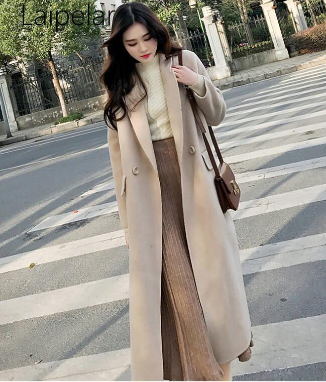 Laipelar New Office Lady Long Woolen Winter Coats Solid Loose Wool Coat And Jacket Turn-down Collar Single Breasted Ladies Coats