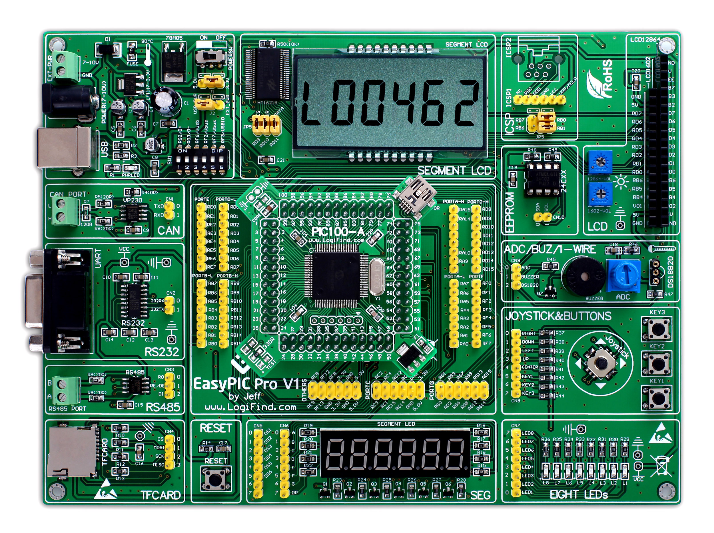 easyPIC Pro Learning Development Board dsPIC PIC32 PIC24 with dsPIC33FJ128MC510(China)
