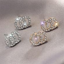 LATS Cute Korean Zircon Alloy Stud Earrings Flash Rhinestones Letter 8 Round Shiny Earrings for Women 2020 Fashion Jewelry
