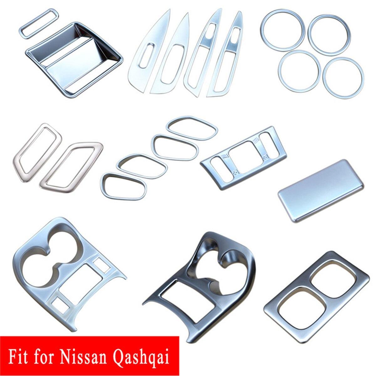 Accesorios cromados, Soporte para vasos, manija de puerta, cubierta de ventilación de aire, ajuste para Nissan Qashqai J11 2014 2015 2016 2017 2018 2019