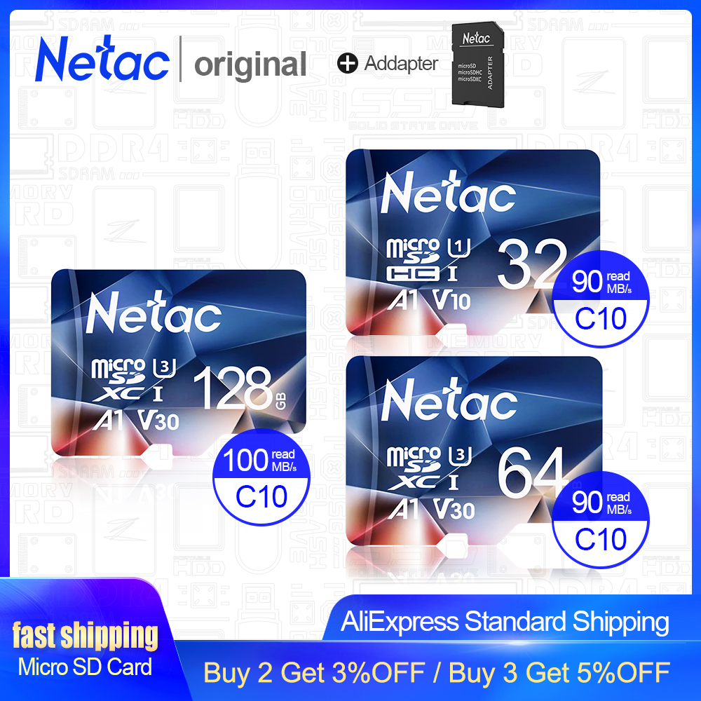 Netac Memory Card Tarjeta Micro SD Card 32GB 64GB 128GB 256GB Class 10 USB Flash Pen Drive Memory Card For Smartphone Adapter