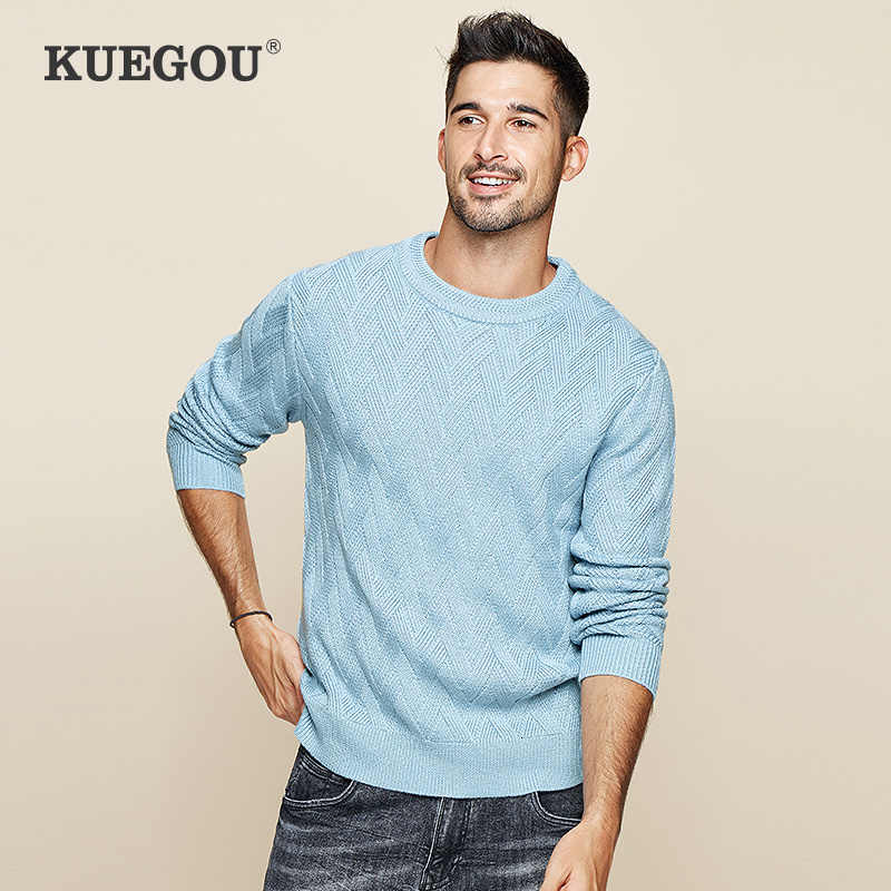 سترة خريف 2019 من KUEGOU بلوفر رجالي أزرق سادة من الصوف سترة غير رسمية مناسبة للرجال ملابس محبوكة على الطراز الكوري 19015