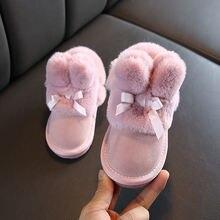 Детские зимние ботинки для девочек милые ботильоны с меховым