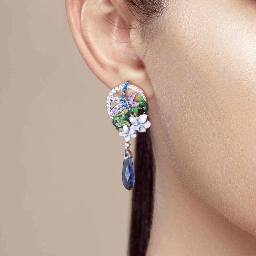 SANTUZZAเงินต่างหูสำหรับผู้หญิง 925 เงินสเตอร์ลิงDRAGONFLYที่ละเอียดอ่อนดอกไม้Dropต่างหูแฟชั่นเครื่องประดับทำด้วยมือเคลือบ