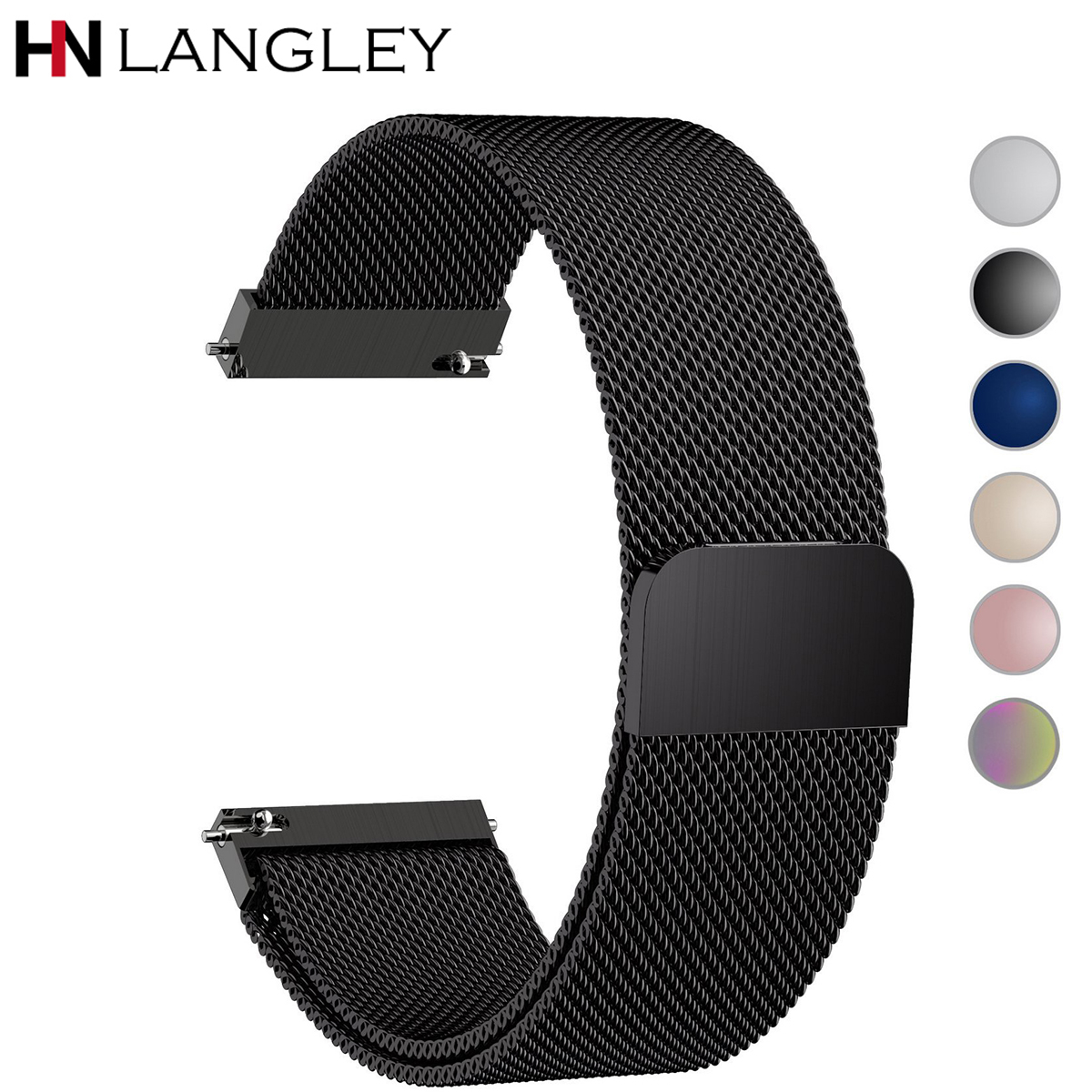 General Quick Release <font><b>Watch</b></font> Strap Milanese Magnetic Closure Stainless Steel <font><b>Watch</b></font> <font><b>Band</b></font> Replacement Strap 16mm 18mm <font><b>20mm</b></font> 22mm 24 image