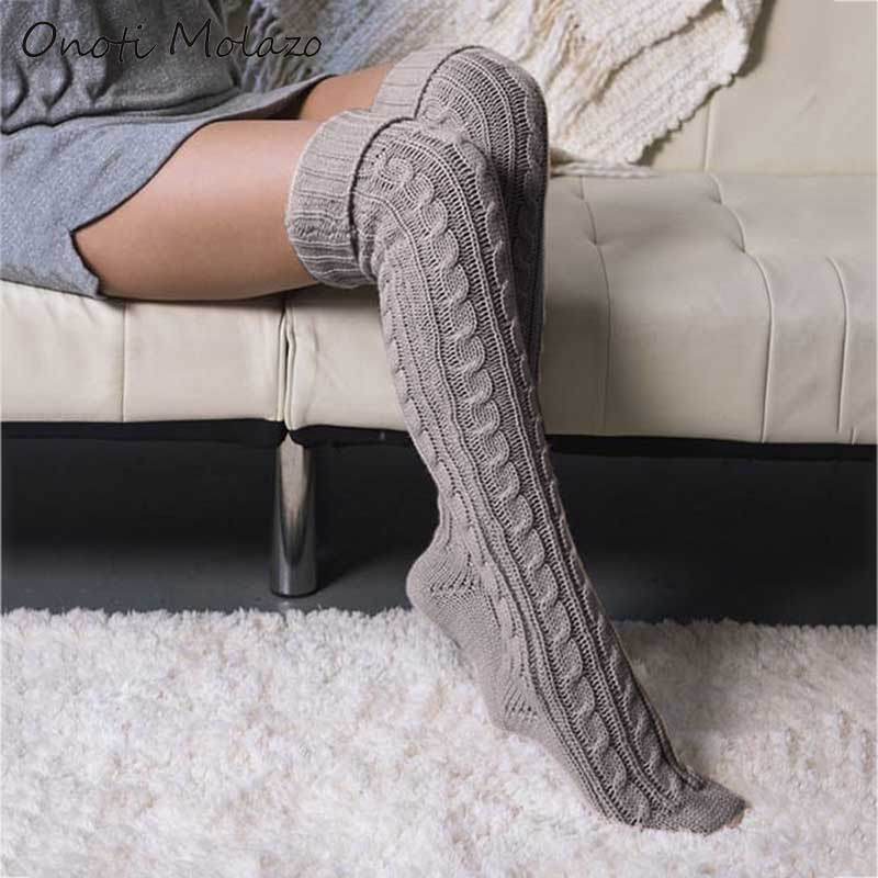 Onoti Molazo Casual Knitted Long Stockings Women Ladies Knitted Stockings Home Comfortable Female 2020 Spring Autumn New Fashion
