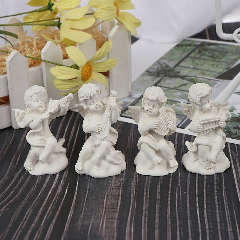 4pc Mini Cute Angel Statue Small Cupid Figure Home&Garden Decor Music Fairy Model Sketch Practice Estatua Festival Gift