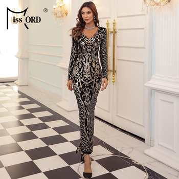 Missord 2020 Women Autumn Winter Sexy V Neck Sequins Evening Party Dress Female Long Sleeve Bodycon Dress Maxi Women Dress M0648 missord 2020 women sexy deep v neck backless sequin dress women sleeveless maxi dress bodycon evening party dress vestido m0449