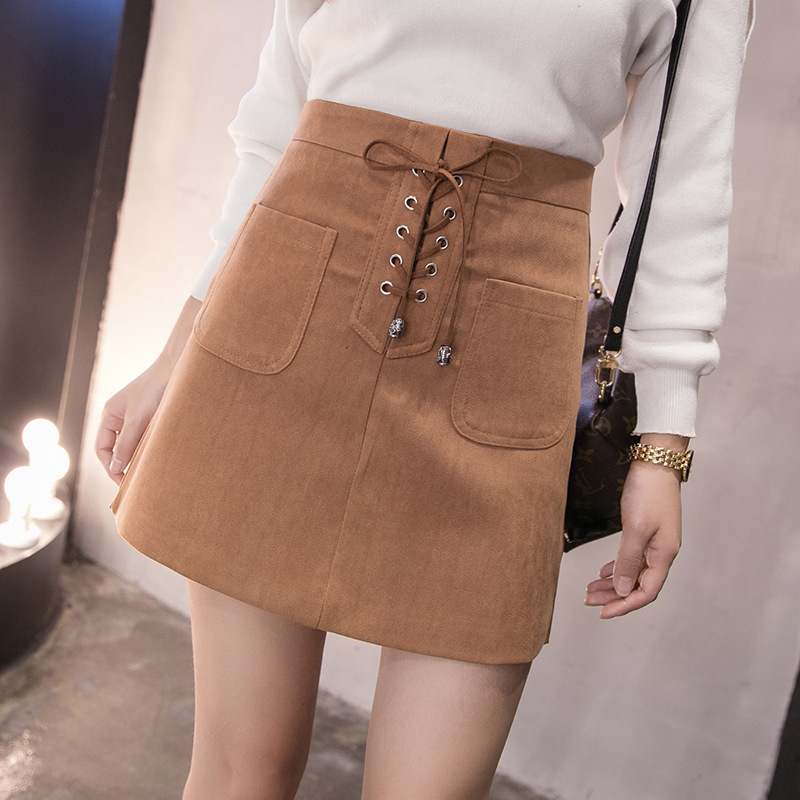 Korean Style High Waist A line Suede Skirts Womens Autumn Winter Front Bandage Leather Skirt Streetwear Jupe Femme Falda Mujer