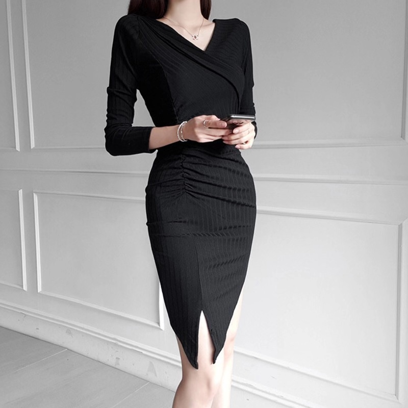 JS1173J-Women's New Style In Autumn And Winter 2019 V-neck Fit Medium Length Knitted Skirt Dress