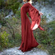 Винтажное женское повседневное свободное платье с длинным рукавом