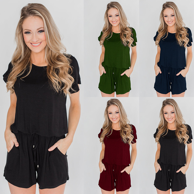 Newset Straight Lace Up Waist Solid Jumpsuit Women Summer Short Sleeve Shorts Playsuit Lady O Neck Casual Rompers Female Clothes