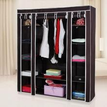 Portable Clothes Closet Wardrobe Storage Organizer with Non-Woven Fabric Quick and Easy to Assemble and Durable Dark Brown