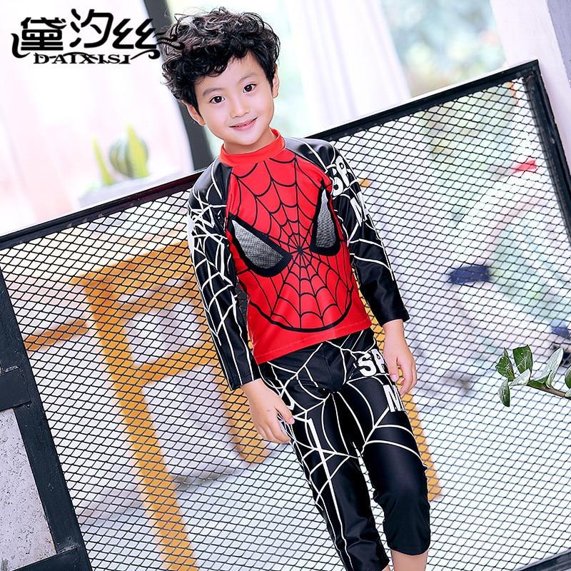 Dai Xi Si-Tour Bathing Suit BOY'S One-piece Cartoon Hooded Long Legs Long Sleeve Split Type Boy Bathing Suit