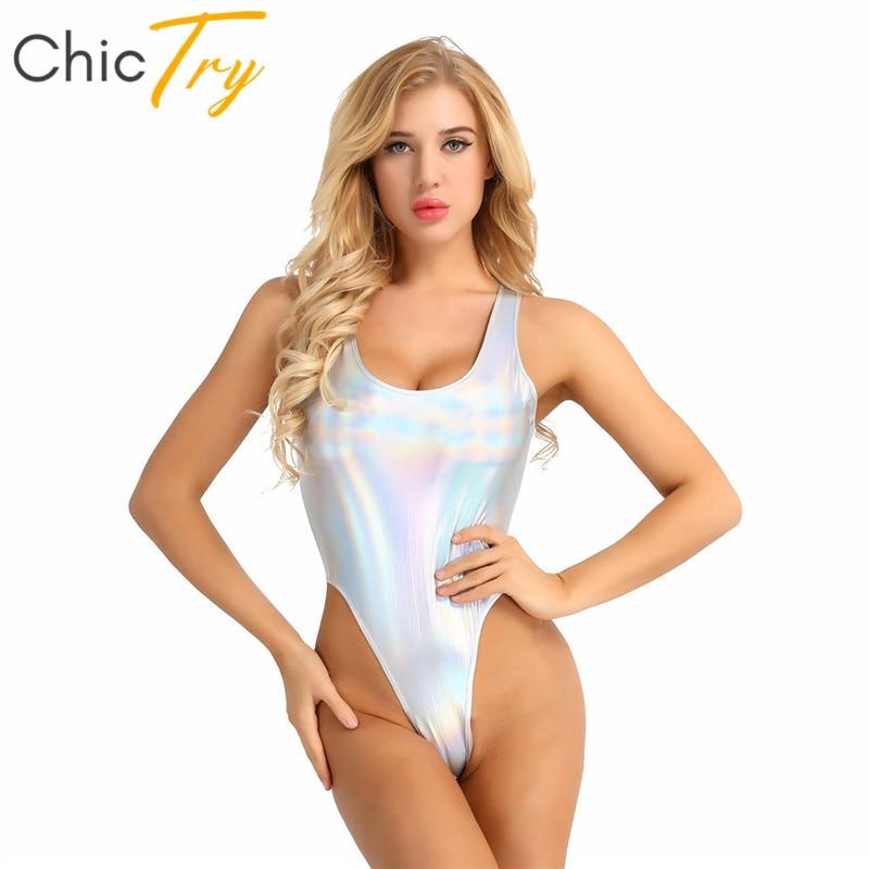 ChicTry Faux Leather High Cut Gymnastics Leotard Swimsuit Women Bodysuit Pole Dance Costume Festival Rave Holographic Clothes