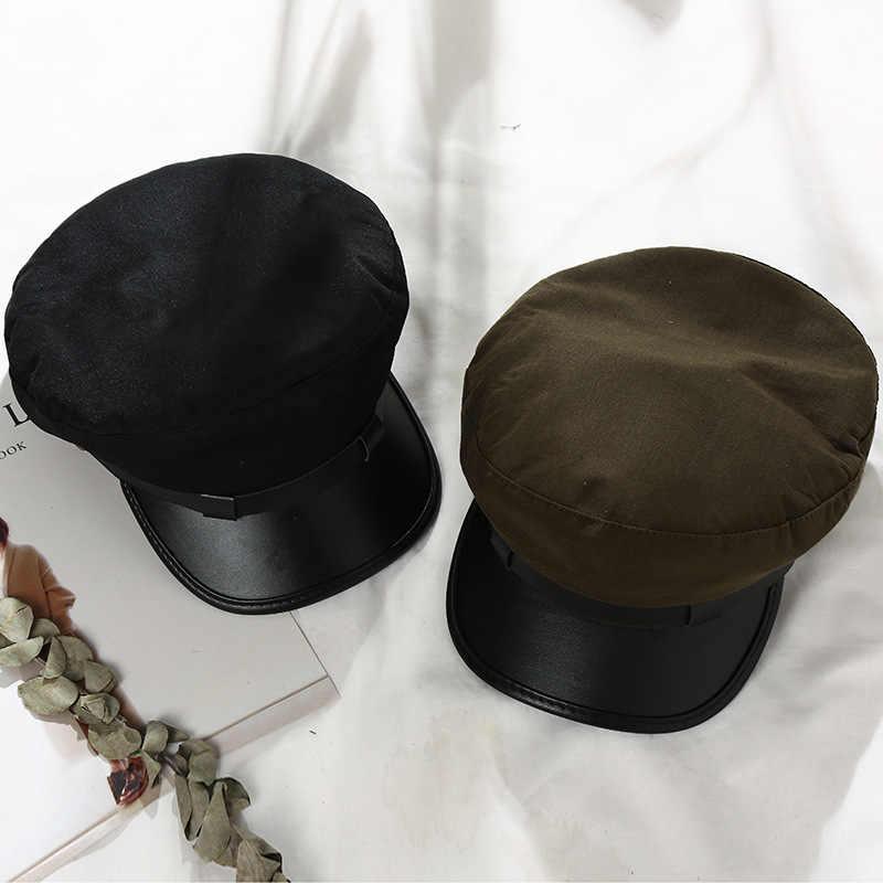Fashion PU Kulit Militer Topi Musim Gugur Musim Dingin Wol Sailor Topi untuk Wanita Pria Datar Baret Wanita Perjalanan Cadet Topi kapten Cap