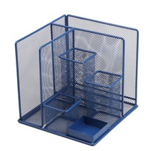 Blue Storage Multi-Functional Desk Organizer Mesh Pen Holder Stationery Container Box Office School Supplies Storage Rack deli office pen container small objects storage box multifunctional desk organizer portable pen holder office school supplies