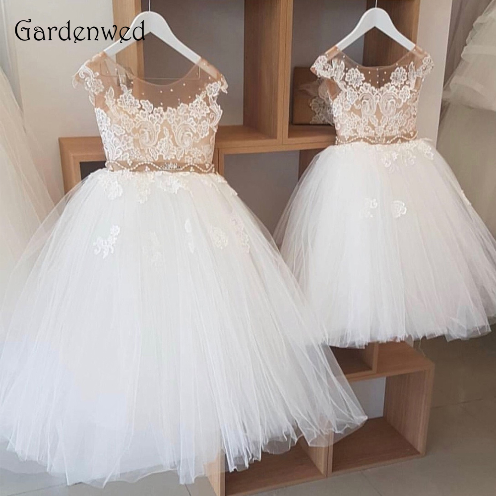 Gardenwed Nude Tulle Sleeveless Scoop Neck Appliques Lace Ball Gown Crystal Belt High-end Custom Made Flower Girl Dresses 2019