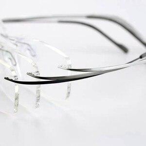 Image 4 - Pure Titanium Eyeglasses Rimless flexible Optical Frame Prescription Spectacle Frameless Glasses Eye glasses 010 Line Temple