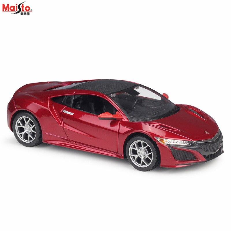 Maisto-Coche de simulación de metal modificado, 2018 Acura NSX, colección de adornos para manualidades, 1:24